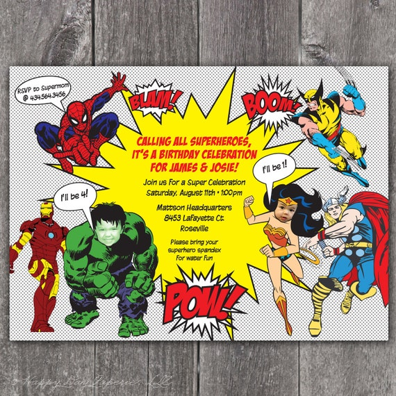 Superhero Custom DIGITAL Photo Birthday Party Invitation Invite – Superhero Party Invitation