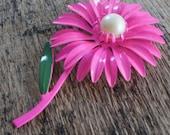 Hot Pink Flower Power 1960s Enamel Brooch