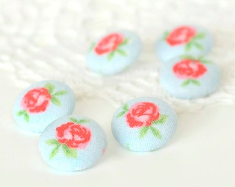Fabric Buttons, Shabby Cottage Chic Roses, 6 Small Flowers Red, Pink, Blue Floral Fabric Covered Button, Handmade Button for Sewing Knitting