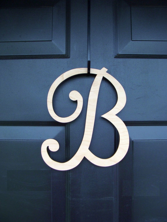 PAINTED Wood Letter- Monogram Letter Initial- Door Wreath Accessory- IN STOCK 10 inch letter added to wreath order