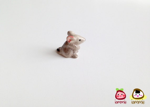 Gray Mouse Figurine, little, grey, ceramic animal, little animal, tiny animal, small animal, tiny mouse, hamster, miniature mice, mini mouse