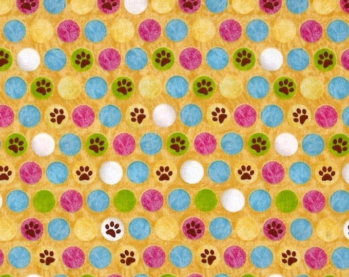 Kitten's Fabric Kozy Kittens Yellow Multi Cotton Fabric by Victoria Hutto for Quilting Treasures