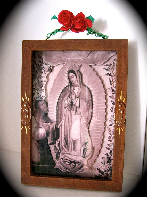 VINTAGE GUADALUPE 3-D Antiqued Shadowbox - a peek into Mexican history