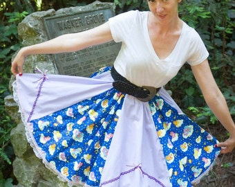 Blue y Purple Vintage Glow in the Dark Care Bears on a Vintage inspired Full circle Skirt