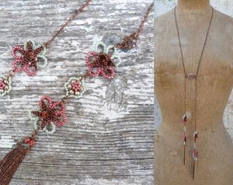LES FLEURS  Handmade in France long necklace French beaded sautoir