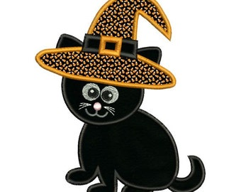 Applique Halloween Cat Witch Hat Embroidery Designs 4X4 and 5X7 Included - Instant Download Sale