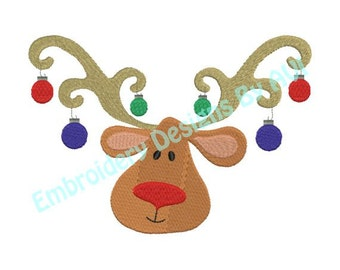 Reindeer Deer Head Antlers Christmas Ornaments Machine Embroidery Designs 4x4 & 5x7 Instant Download Sale