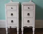 custom order Shabby Chic Night Stand Pair White Distressed Antique Cottage Country Prairie
