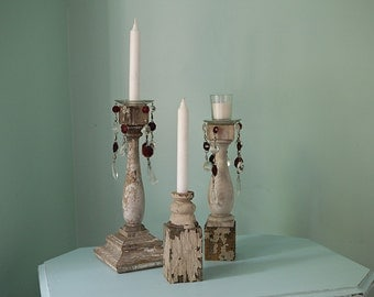 5 pc candle holder set shabby chic old porch post white chippy distressed crystal bobeche