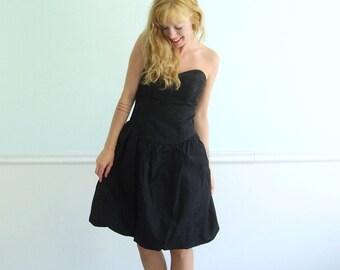 Betsey Johnson Black Taffeta Strapless Mini Bubble Hem Prom Party Dress 4 SMALL - Vintage 80s 90s