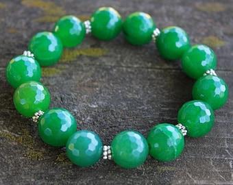 Stretch Bracelet // Boho Stretch Bracelet // Jade Stretch Bracelet // Stretch Stack Bracelet // Gifts Under 25 //  Green Bracelet // Gypsy