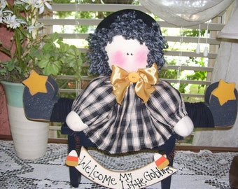 Handmade Wood and Fabric Welcome Shelf Sitter Witch