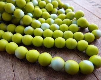 Glass Bead 6mm Round Matte Chartreuse AB (25) SALE