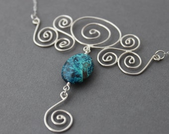 Sterling silver necklace - Sterling Chrysocolla pendant necklace - Statement Necklace - Under Current