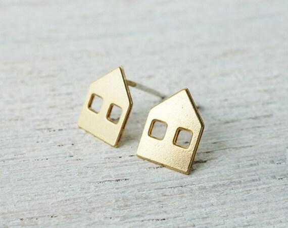 Copenhagen Post boucles d'oreilles, boucles d'oreilles de maison élément, goujons minimalistes, design scandinave