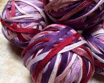 Hand Dyed 100% Silk Ribbon Tape for Knitting, Crochet, Weaving and Macrame