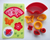 Cute Traditional Japanese Flower & Butterfly Themed Bento Lunch Box Cookie / Ham / Cheese / Sandwich Cutters / Rice Molds Set