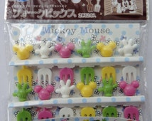 Disney Mickey Mouse Mini Forks / Bento Picks / Cake Toppers - Set Of 12 - Mickey Mouse Face & Hands - Yellow, White, Pink Green