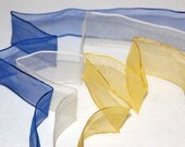 See-through wire edged ribbon, transparent, 38mm wide, organza, selection of 3 colours, navy yellow and cream