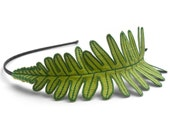 Fern Leaf Headband- Apple Green with Emerald Embroidery