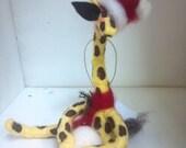 Santa Giraffe with Snowball Felted Ornament