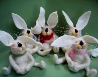 Bunny with Snowball Felted Wool Ornament - NEW for 2013