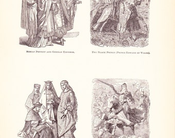 1898 World History Print - Fashion of the 12th and 13th Century - Vintage Antique Art Print American History Great for Framing 100 Years Old