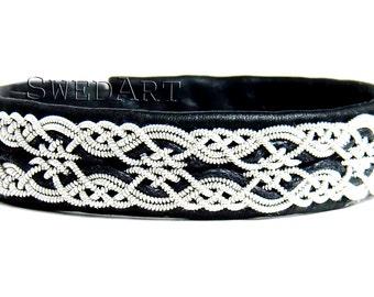 SwedArt B17 Snowflake Sami Lapland Reindeer Leather Bracelet Pewter and Silver Braids Antler Button  Black XX-SMALL