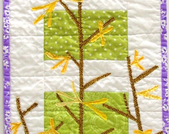 Forsythia wall quilt - wall art quilt in green, yellow, brown and purple for Spring - Easter