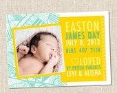 Geometric Pattern Custom Printable Baby Birth Announcement Card - EASTON - Coastal Yellow Teal Turquoise
