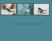 Bird PRINT bird print Set home decor wall art from original Watercolor Bird Painting Fine art black blue snow winter bird print 8x10 junco