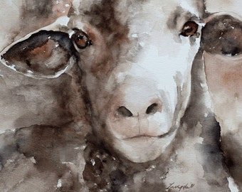 Large sheep painting sheep PRINT art from original watercolor painting nursery art baby wall art nursery decor sheep art PRINT baby dp