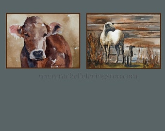 Large COW Print baby nursery art boy room decor boy wall art nursery decor Watercolor cow art PRINT SET of original cow painting sheep 11x14