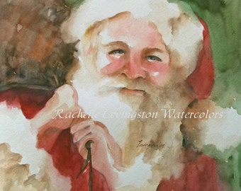 santa christmas CARD with SANTA card santa Holiday Greetings card set red green white santa xmas card art print watercolor painting 8 pack