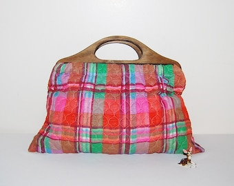 Vintage Bermuda Handbag Quilted Plaid