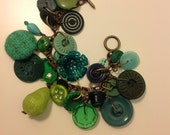 A Green Vintage Button Charm Bracelet