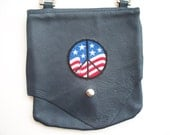 Leather Hip Bag with Partiotic Peace Sign