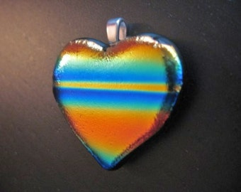 Large rainbow pendant, heart pendant, fused glass pendant, striped jewelry, dichroic glass heart, LGBT pride jewelry, valentines day