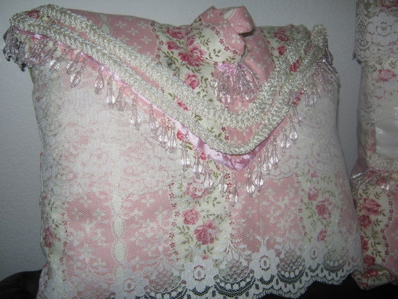Shabby Chic Pink Decorative Pillows : Pink Beige Lace Decorative Pillows Shabby Chic Style Beading
