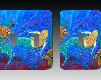 The Mermaid Dance Switchplate, Lightswitch Cover, Lightswitch Plate