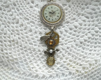 Steampunk Assemblage Necklace, Vintage Key, Watch Gears, Pewter Hand Charm, Metal Pendant. Watch Parts
