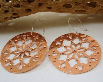 Copper or Brass and Sterling Silver Earrings