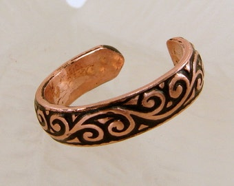 Copper Oxidized Pattern Toe Ring - Any Size