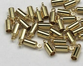 BULK Bags of 36 3mm Barrel End Caps Gold Plated Endcaps Kumihimo Glue In Cord Ends 3 mm Kumihimo or Leather End Caps 3mm Cord Loop Ends