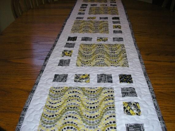 Long Bed Runner Table Runner In Black Gray Yellow And White
