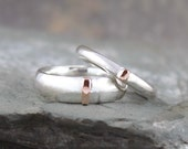 His and Hers 14K Rose Gold and Sterling Silver Wedding Bands  - Pink and Silver Bands - Mixed Metal - Comfort Fit Style Band - Wedding Rings