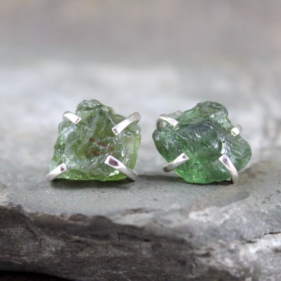 Green Gem Asparagus: Green Apatite Earrings Sterling Silver Raw Green By
