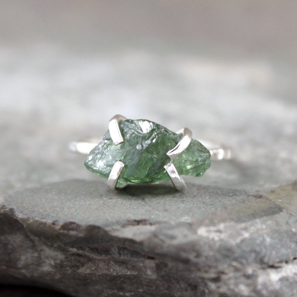 Green Gem Asparagus: Green Apatite Ring Raw Uncut Rough Apatite Sterling Silver