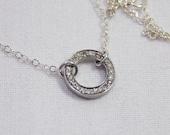 Simple Diamond Circle Charm Necklace