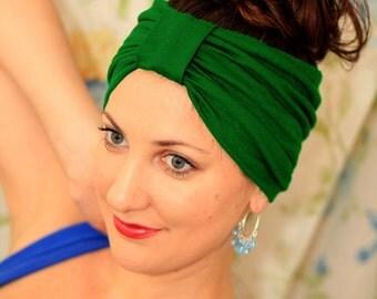 Kelly Green Turban Headband - Jersey Knit - Lots of Colors
